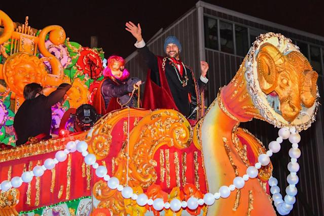 <p>Keegan-Michael Key celebrated Mardi Gras in New Orleans atop a float in the Krewe of Orpheus parade. The comedian was selected to be the group's monarch. (Photo: Erika Goldring/Getty Images) </p>