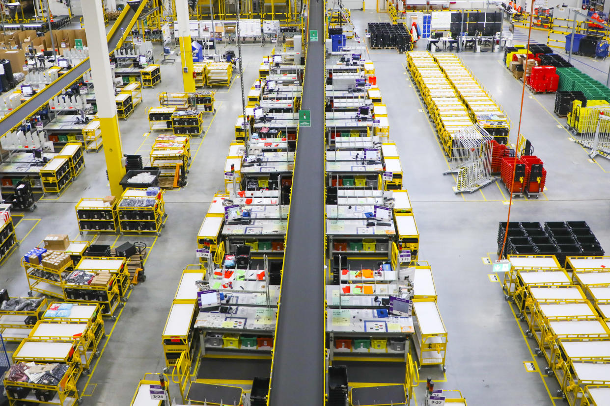 Amazon fulfilment center in Sosnowiec, Poland on 13 May, 2019. The fifth Amazon fulfilment center in Poland is built in the Upper Silesia region. The property totalling 135,000 sqm is built on a 21-hectare site near Panattoni Park Sosnowiec. Amazons fulfilment centre in Sosnowiec is adapted to the high-bay storage system and dedicated to the distribution of shoes and clothes in Western Europe. (Photo by Beata Zawrzel/NurPhoto via Getty Images)