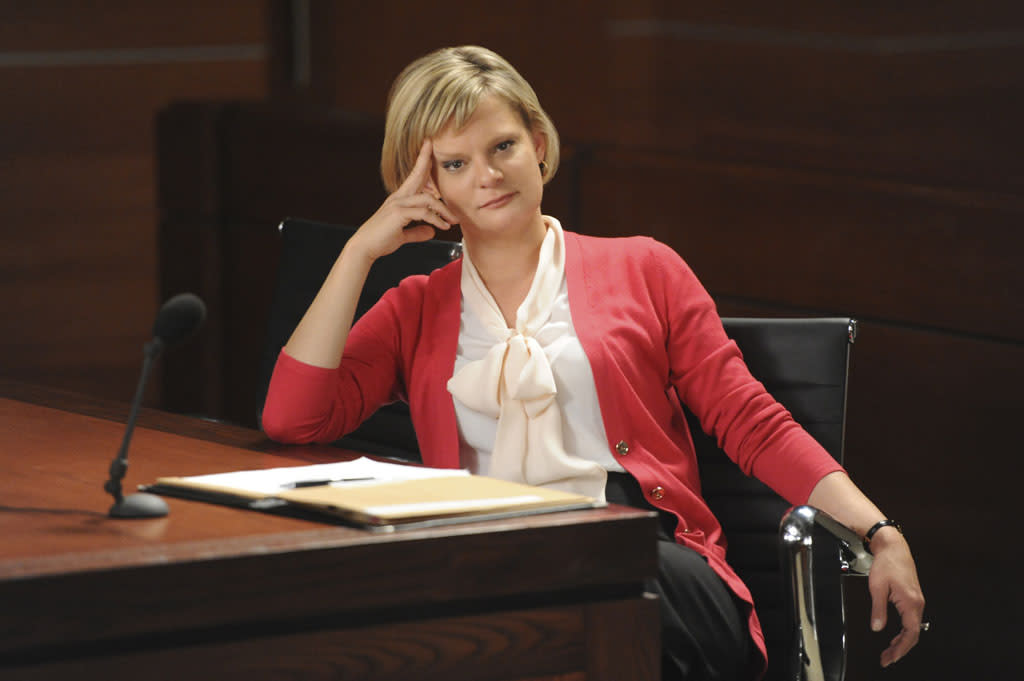 """""""What's in the Box?"""" -- On the eve of the gubernatorial election, Alicia, Will and Diane square off against Patti Nyholm (Martha Plimpton) in a series of emergency court proceedings when the validity of crucial ballots is called into question, on """"The Good Wife."""""""