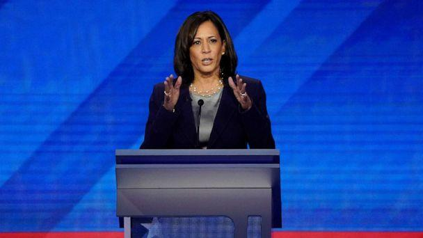 PHOTO: Senator Kamala Harris speaks during the 2020 Democratic presidential debate in Houston, Texas, Sept. 12, 2019. (Mike Blake/Reuters)