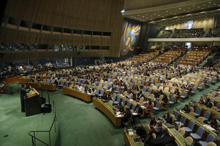 Pakistani Prime Minister Imran Khan addresses the 74th session of the United Nations General Assembly, Friday, Sept. 27, 2019, at the United Nations headquarters. (AP Photo/Frank Franklin II)