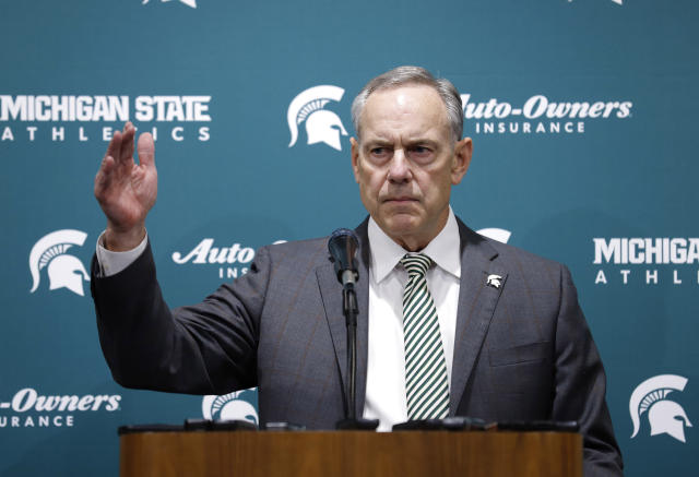 Michigan State's Mark Dantonio talks about his retirement as the NCAA college football team's coach, Tuesday, Feb. 4, 2020, in East Lansing, Mich. (AP Photo/Al Goldis)