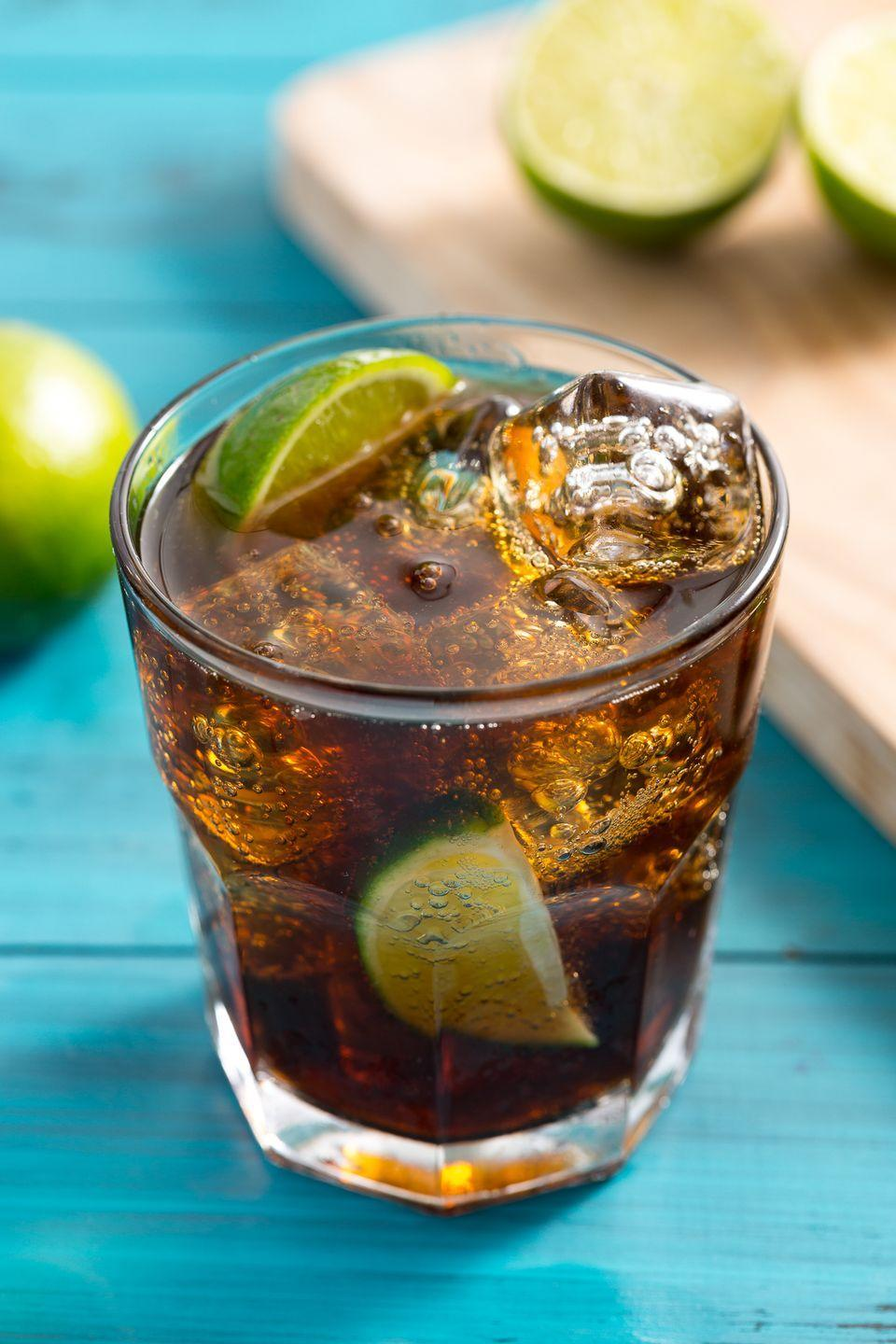 """<p>Add lime juice to a good old fashioned rum and coke, and you've got yourself a Cuba Libre!</p><p>Get the recipe from <a href=""""https://www.delish.com/cooking/recipe-ideas/recipes/a4280/cuba-libre-cocktails-drinks/"""" rel=""""nofollow noopener"""" target=""""_blank"""" data-ylk=""""slk:Delish"""" class=""""link rapid-noclick-resp"""">Delish</a>.</p>"""