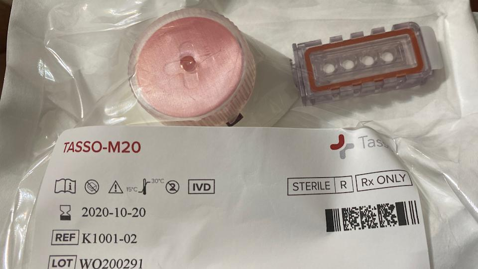 Tasso device used to collect blood sample. (Yahoo Sports)