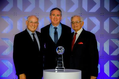 Citadel Founder and CEO Ken Griffin receives the 2019 CME Group Melamed-Arditti Innovation Award at the Global Financial Leadership Conference (GFLC) in Naples, Fla. (L-R): Jacob A. Frenkel, Chairman, JPMorgan Chase International; Griffin; Leo Melamed, CME Group Chairman Emeritus
