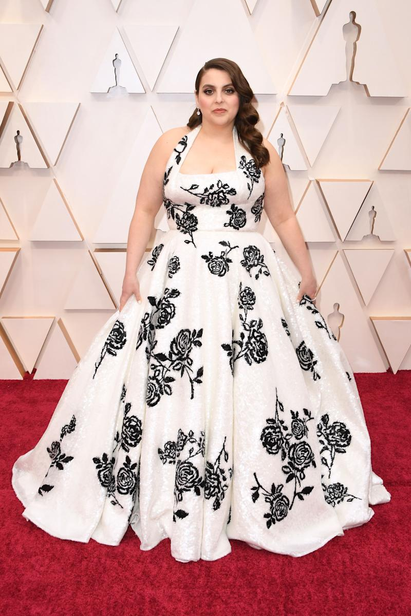 This might feel more like a traditional awards show choice if it were a solid colour. But the A-line cut with a long train looks lovely on her.
