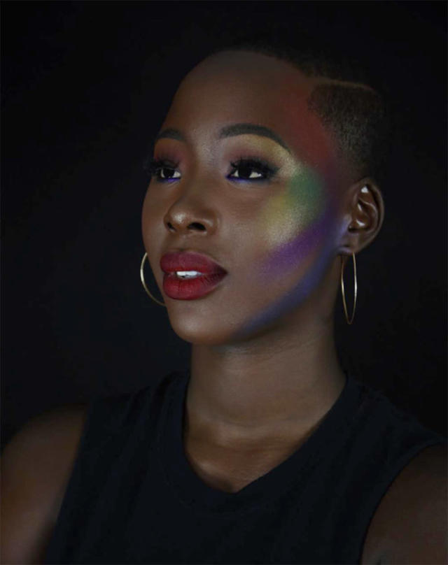 "<p><span>Makeup artist Diamond Ritter rocks a <a href=""https://www.yahoo.com/beauty/milk-makeup-glitter-stick-gives-211542503.html"" data-ylk=""slk:colorful glow"" class=""link rapid-noclick-resp"">colorful glow</a> to ""support the beautiful people of the LGBTQ community."" </span>(Photo: <a href=""https://www.instagram.com/p/BVmosHPhkUn/?taken-by=americas.next.top.baddie"" rel=""nofollow noopener"" target=""_blank"" data-ylk=""slk:americas.next.top.baddie/Instagram"" class=""link rapid-noclick-resp"">americas.next.top.baddie/Instagram</a>) </p>"