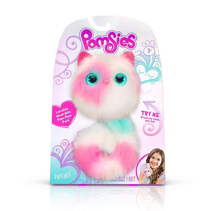 """<p><a class=""""link rapid-noclick-resp"""" href=""""https://www.amazon.com/Pomsies-Patches-Plush-Interactive-White/dp/B07DK9MMWJ?tag=syn-yahoo-20&ascsubtag=%5Bartid%7C10063.g.34738490%5Bsrc%7Cyahoo-us"""" rel=""""nofollow noopener"""" target=""""_blank"""" data-ylk=""""slk:BUY NOW"""">BUY NOW</a></p><p>Pomsies are like the cuter, updated version of a Furby. These plush toys hit the market in 2018 and quickly became wildly popular and one of the """"it"""" toys for the holiday season. The fluffy pets react to touch, make more than 50 sounds, and their eyes light up different colors to express their mood. The tails can bend and lock into different shapes, so kids can wrap them around their wrists and backpacks.</p>"""