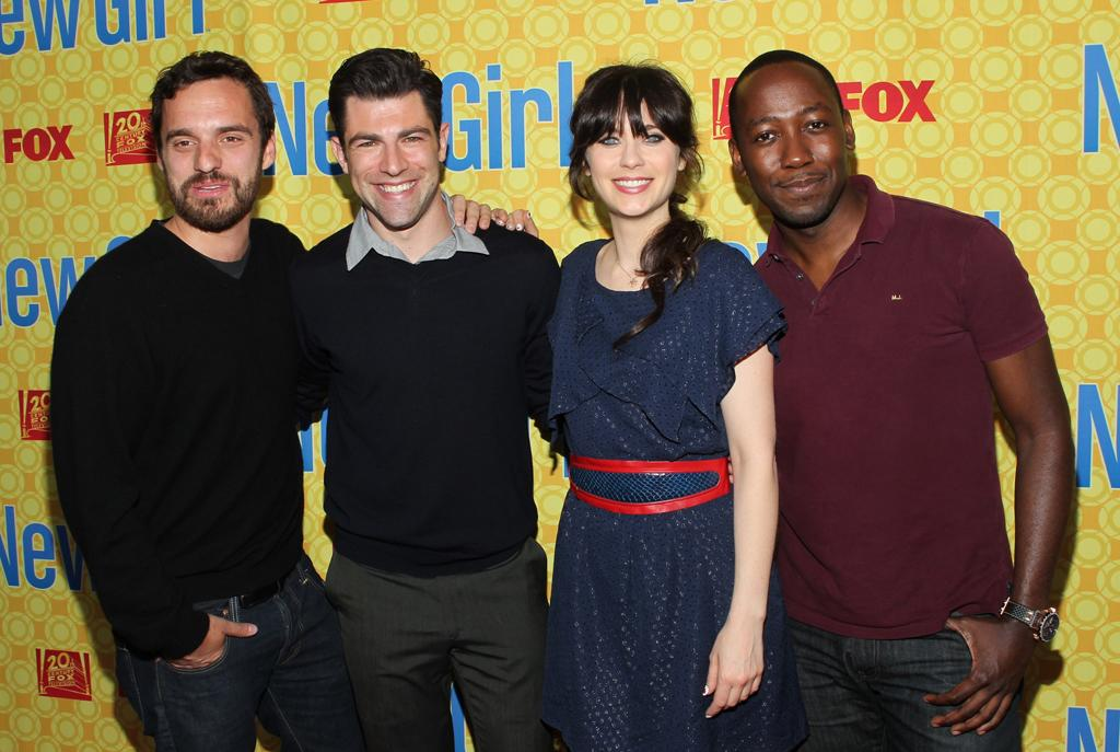 """Jake M. Johnson, Max Greenfield, Zooey Deschanel, and Lamorne Morris arrive at the """"New Girl"""" screening hosted by The Academy of Television Arts & Sciences at the Leonard H. Goldenson Theatre on May 7, 2012 in North Hollywood, California."""