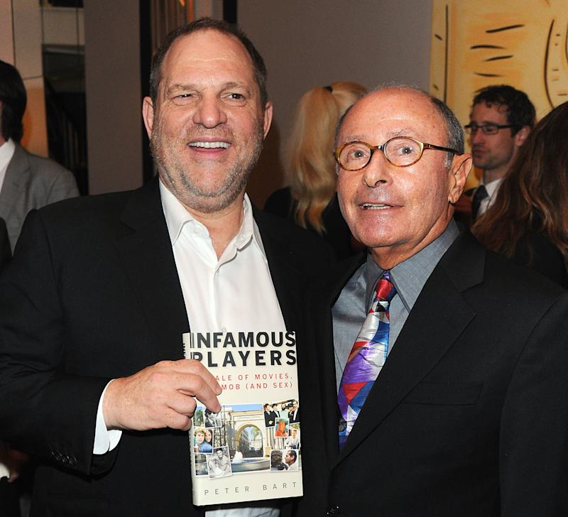 Harvey Weinstein and Peter Bart attend the launch party for Bart's book <i>Infamous Players</i>. The party was hosted by The Weinstein Company.