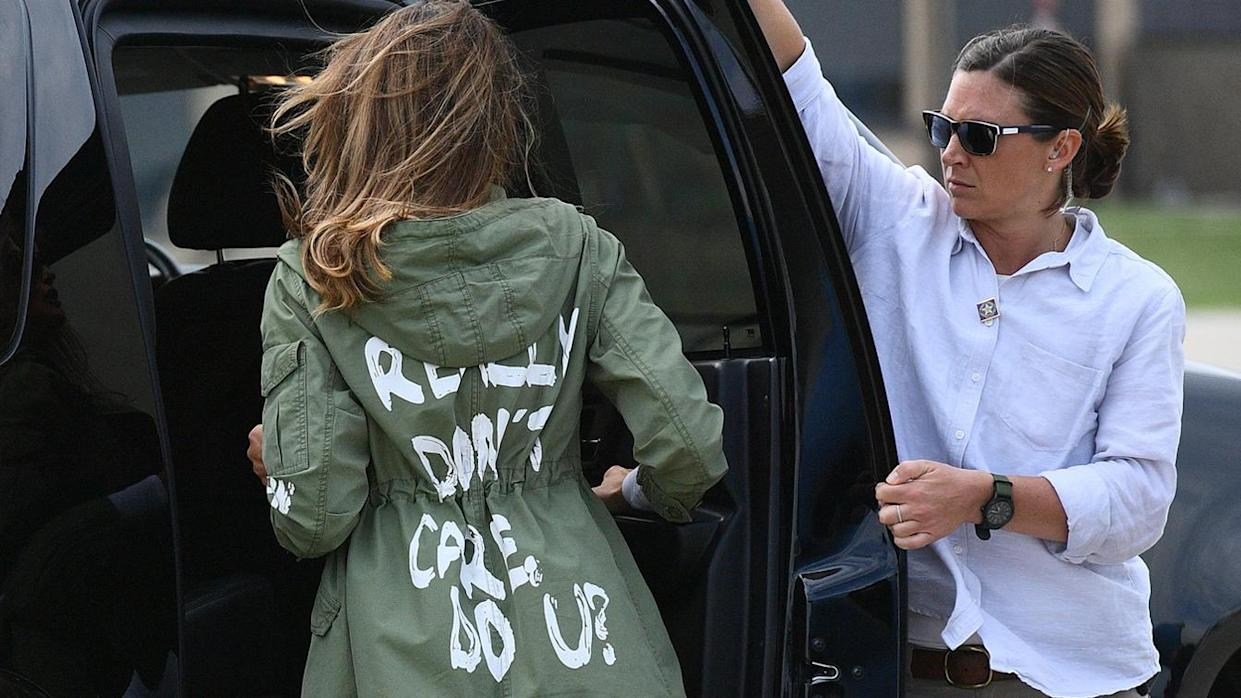 First lady Melania Trump departs Andrews Air Force Base in Maryland  following her surprise visit to children separated from their parents on the U.S.-Mexico border, June 21, 2018. (Photo by Mandel Ngan/AFP via Getty Images)