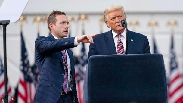 PHOTO: President Donald Trump talks with Deputy Campaign Manager for Presidential Operations Max Miller before his speech to the Republican National Convention on the South Lawn of the White House, Aug. 27, 2020. (Evan Vucci/AP, FILE)