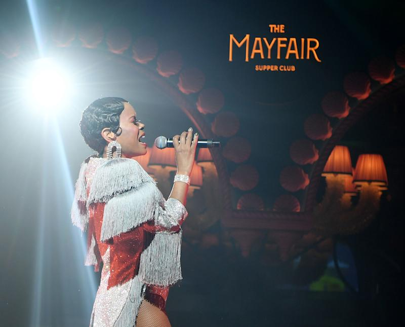 The Mayfair Supper Club's lead vocalist, LaShonda Reese, performs at Bellagio's new fountain-side dining concept that evolves from a swinging prohibition-era jazz club to a late-night dance party.