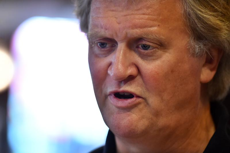 Chairman of Wetherspoons pub chain, Tim Martin is seen during an interview in London on June 14, 2016. At popular British pub chain Wetherspoon, the EU referendum debate is hard to avoid -- it's in the magazine given out to customers, on the company website and even on special anti-EU beer mats. / AFP / BEN STANSALL / TO GO WITH AFP STORY BY DARIO THUBURN (Photo credit should read BEN STANSALL/AFP via Getty Images)