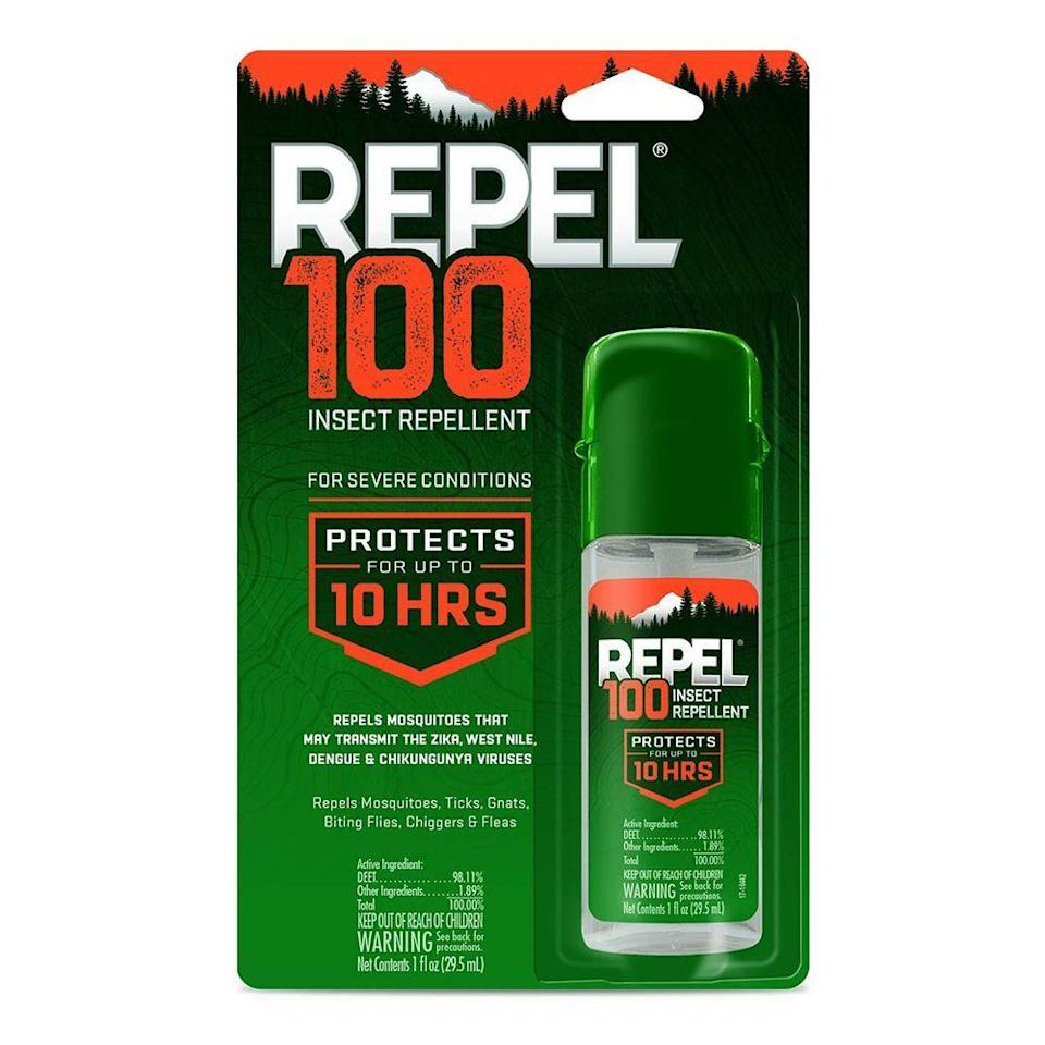 """<p><strong>Repel</strong></p><p>amazon.com</p><p><strong>$50.52</strong></p><p><a href=""""https://www.amazon.com/dp/B008H5B94Q?tag=syn-yahoo-20&ascsubtag=%5Bartid%7C2141.g.32869392%5Bsrc%7Cyahoo-us"""" rel=""""nofollow noopener"""" target=""""_blank"""" data-ylk=""""slk:Shop Now"""" class=""""link rapid-noclick-resp"""">Shop Now</a></p><p>Mosquitos just love <a href=""""https://www.prevention.com/health/a20481496/this-is-why-mosquitoes-love-you/"""" rel=""""nofollow noopener"""" target=""""_blank"""" data-ylk=""""slk:&quot;sweet&quot; blood"""" class=""""link rapid-noclick-resp"""">""""sweet"""" blood</a>, but with one spray of this insect repellant will keep those flying pests away for a whole 10 hours! This travel-size bottle has 98.11% of DEET to avert bites from mosquitos as well as fleas, biting flies, and ticks which can pass on potentially deadly viruses. We also prefer this spray method over lotions or wipes because it's the easiest to apply without the mess factor. </p>"""