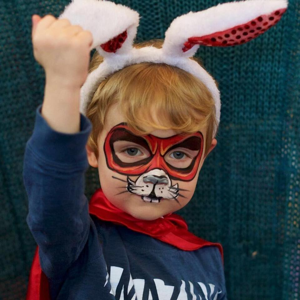 "<p>Who says your little one has to decide between being cute and saving the world? With this adorable ""super bunny"" face paint, he can be both.</p><p><em><a href=""https://www.staceysfacepainting.com/?fbclid=IwAR3R-j4lQhSPuqEykH_DgmX69h5cPODe0xVewvS3HU466zoLlT6xRwEZifk"" rel=""nofollow noopener"" target=""_blank"" data-ylk=""slk:See more at Stacey's Face Painting »"" class=""link rapid-noclick-resp"">See more at Stacey's Face Painting »</a></em></p>"