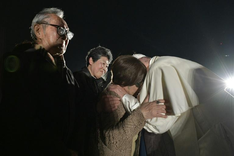 Francis comforted survivors of the nuclear Holocausts in Hiroshima and Nagasaki