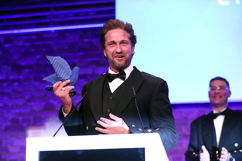 BERLIN, GERMANY - FEBRUARY 23: Gerard Butler during the Cinema For Peace Gala at Westhafen Event & Convention Center on February 23, 2019 in Berlin, Germany. (Photo by Gisela Schober/Getty Images)