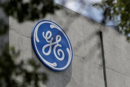 Logo of General Electric Co. is pictured at the Global Operations Center in San Pedro Garza Garcia