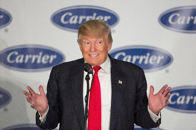President-elect Donald Trump struck a deal with Carrier to keep about 1,100 jobs in Indiana in exchange for $7 million in state tax incentives over 10 years (AFP Photo/TASOS KATOPODIS)