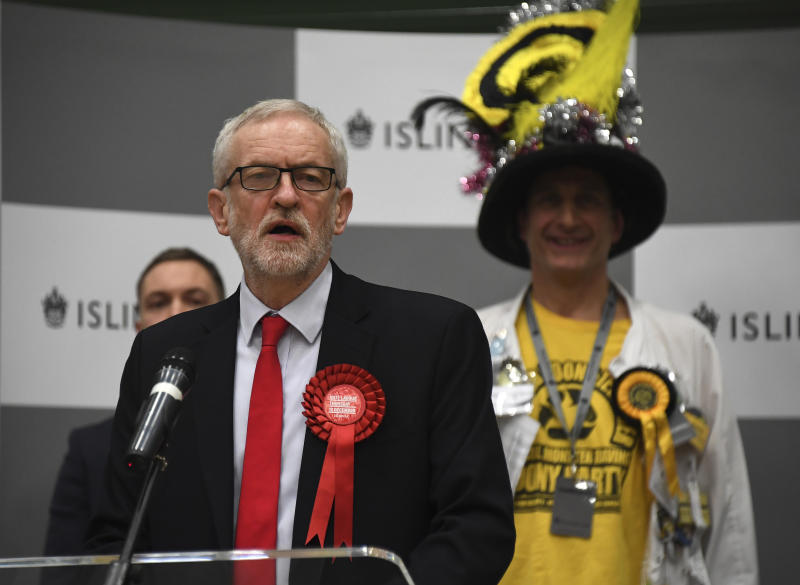 British opposition Labour Party leader Jeremy Corbyn speaks during the declaration of his seat on Friday. Source: AAP
