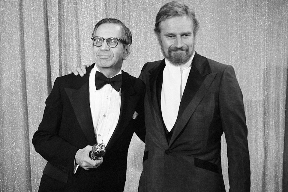 <p>Producer Walter Mirisch (left) won the Cecil B. DeMille Award in 1977.</p>