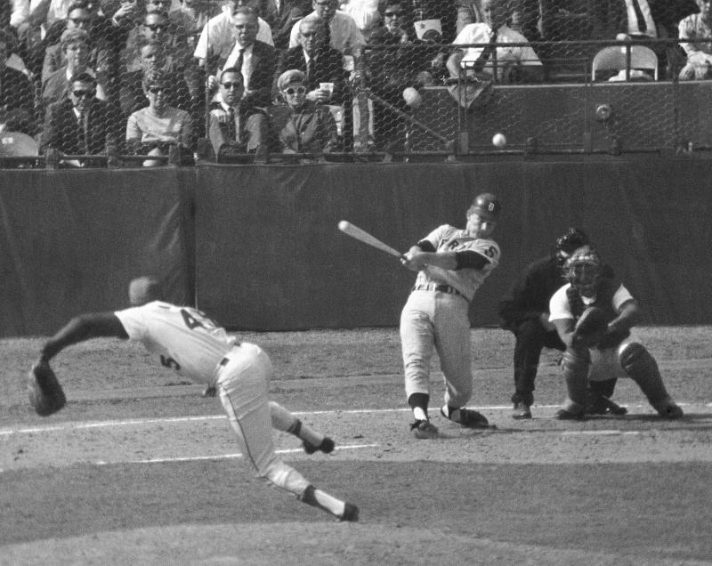 FILE - in this Oct. 10, 1968 file photo, Detroit Tigers' Jim Northrup hits liner to center for a triple, to score two runs in the seventh inning of Game 7 of baseball's World Series at Busch Stadium in St. Louis. Pitching for the Cardinals is Bob Gibson as Tim McCarver catches.  Northrup, who hit a decisive two-run triple in Game 7 of the 1968 World Series for the Tigers, died Wednesday, June 8, 2011, longtime friend Bill Wischman said. He was 71. (AP Photo/File0