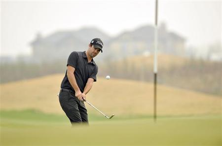 Nick Cullen of Australia watches his shot during the Championship Pro-Am of Volvo China Open at Binhai Lake Golf Club in Tianjin
