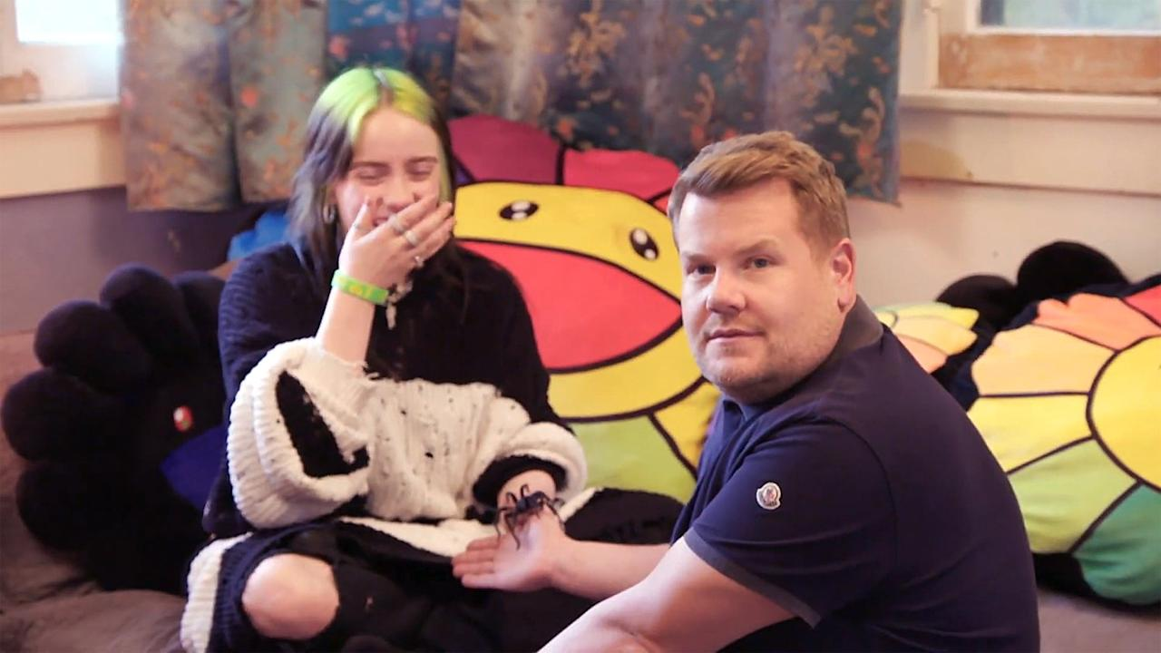 "During an episode of <a href=""https://people.com/music/billie-eilish-james-corden-home-tour-pet-spider/""><em>Carpool Karaoke</em> with James Corden</a>, the singer gave a tour of her home where she keeps her pet spider.   ""Why would you do that? Why would you have such a thing?"" a very nervous host Corden questioned Eilish, before the star placed her blue spider on his hand.  ""Because he's cute!"" she said.  ""There's nothing cute about it. Zero,"" Corden replied.  ""You're wrong,"" Eilish argued before Corden exclaimed ""oh s—"" at seeing the tarantula move its legs."