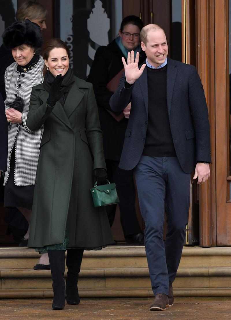 The Duke and Duchess of Cambridge depart after visiting Blackpool Tower in Blackpool, England, on March 6.