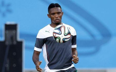 Cameroon's Eto'o eyes the ball during a training session at the Dunas Arena soccer stadium in Natal