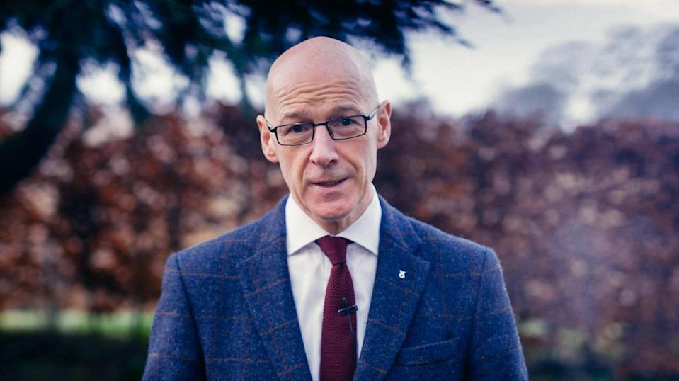 <p>Education secretary John Swinney at his home in Woodside, East Perthshire, speaking at the party's annual conference on Saturday (28 November)</p> (PA)