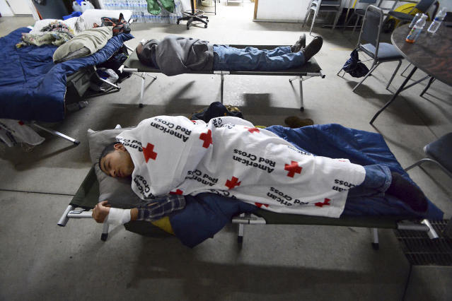 <p>Residents sleep inside the Dingman Township Volunteer Fire Department in Dingman Township, Pa., on March 7, 2018, during the second snowstorm that hit the region in northeastern Pennsylvania in less then a week. (Photo: Butch Comegy/The Scranton Times-Tribune via AP) </p>