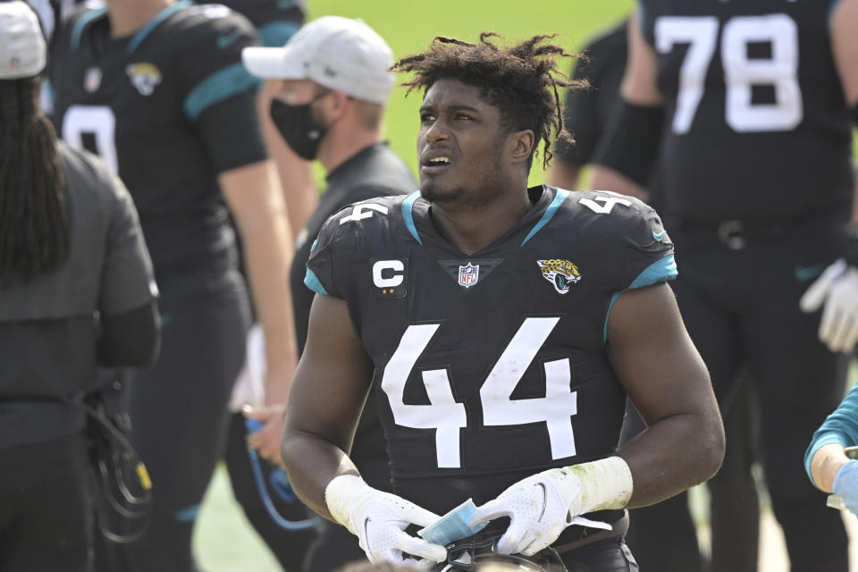 Jacksonville Jaguars linebacker Myles Jack (44) in the bench area during the first half of an NFL football game against the Cleveland Browns, Sunday, Nov. 29, 2020, in Jacksonville, Fla. (AP Photo/Phelan M. Ebenhack)