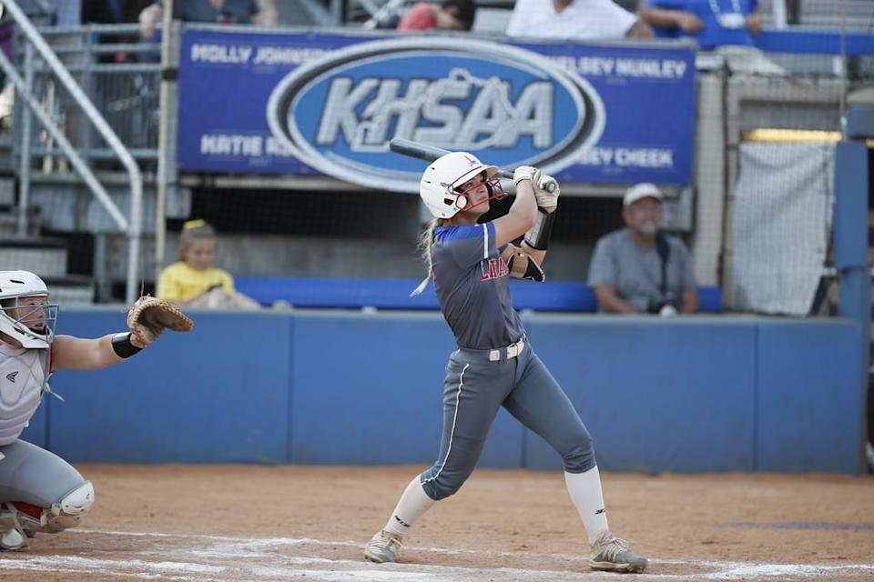 Lafayette's Natalie Henry watched her home run fly over the fence during the Generals' state quarterfinal game against Butler.