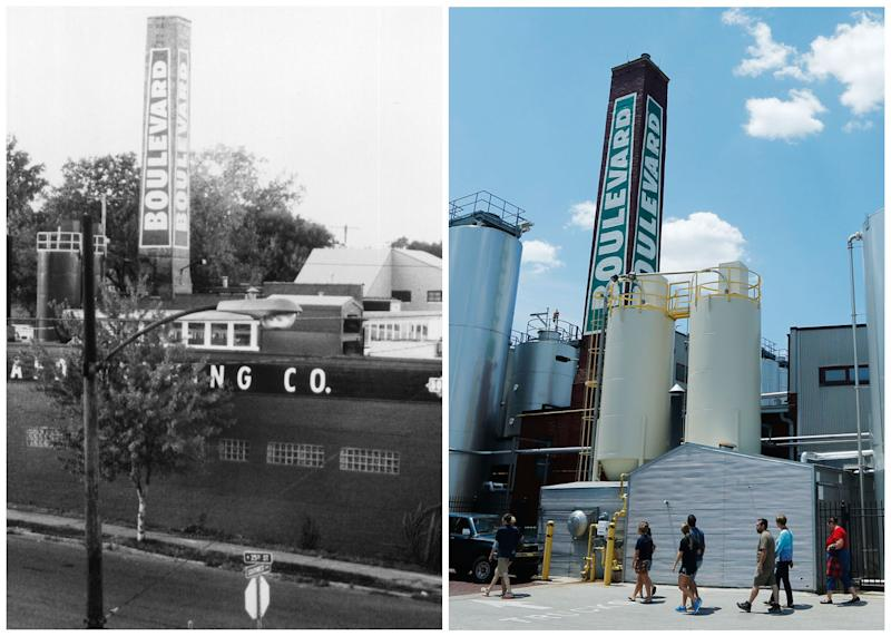 "This combination photo shows, left, an undated photo of Boulevard Brewing shortly after its opening in 1989, in Kansas City, Mo., and right, a tour group visiting the brewery on July 1, 2013. Boulevard Brewing opened in the Westside neighborhood of Kansas City, creating a brewery out of a building that had been a railroad's laundry. While it probably would have been cheaper for the company to be in the suburbs, the brewery's managers are ""committed urbanists"" who like the idea of contributing to the vitality of the central city as opposed to building on undeveloped land in the suburbs, says Boulevard's CFO, Jeff Crum. (AP Photo/Boulevard Brewing)"