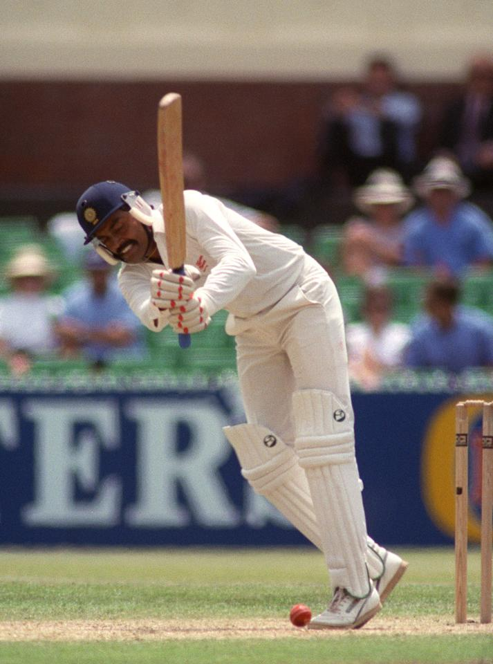 MELBOURNE, AUSTRALIA - DECEMBER 30:  Indian batsman Vengsarkar receives a yorker during the Melbourne test match against Australia 30 December 1991.  (Photo credit should read DAVID CALLOW/AFP/Getty Images)