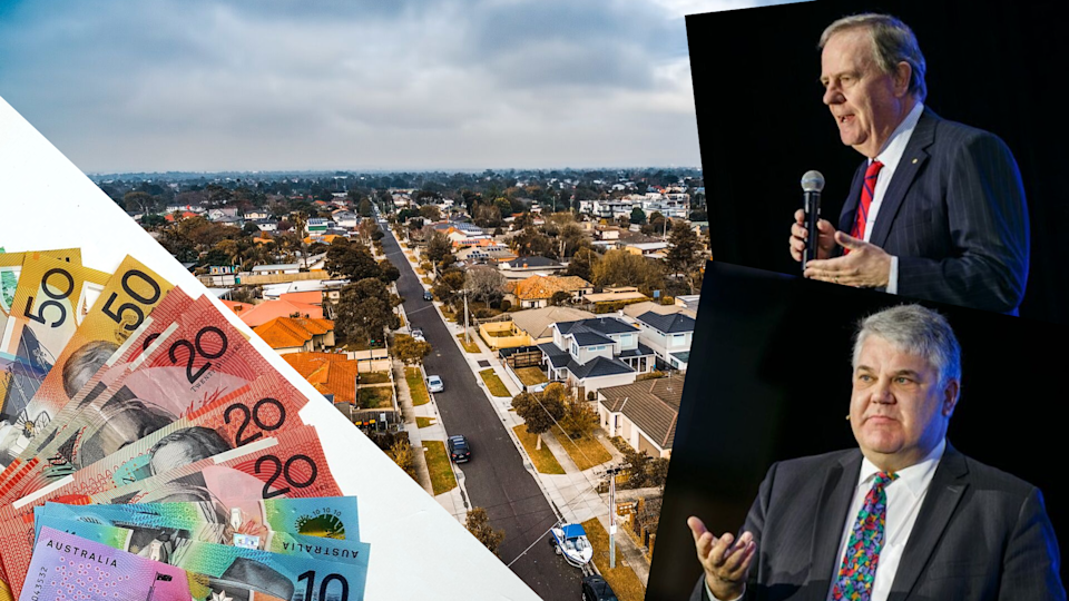 Pictured: Australian houses, Australian cash, Peter Costello and Stephen Koukoulas. Images: Getty, Yahoo Finance