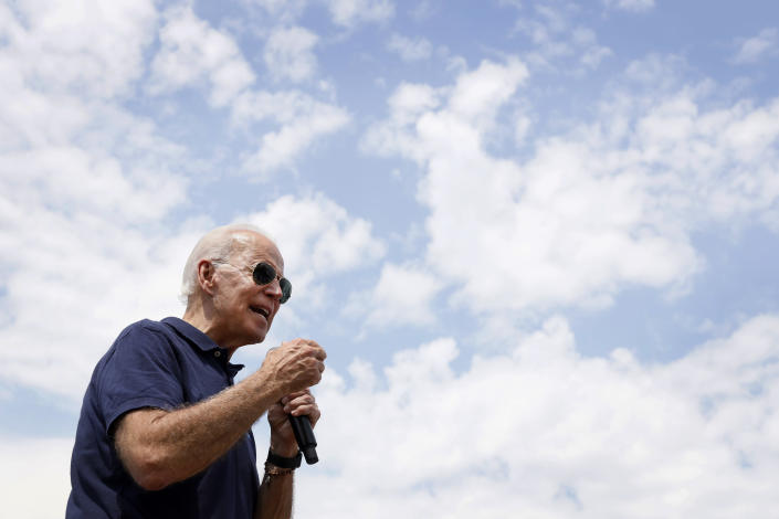 Former Vice President Joe Biden speaks at the Iowa State Fair in Des Moines on Thursday. (AP Photo/Charlie Neibergall)