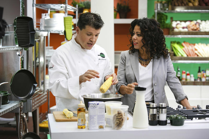 """This Aug. 18, 2013 photo provided by Trium Entertainment shows Lewisburg, W. Va. resident Rich Rosendale, left, with the host of """"Recipe Rehab,"""" Evette Rios, at the studios in Calabasas, Calif. Rosendale, one of TV's newest celebrity chefs, says his greatest challenges come on the set of """"Recipe Rehab,"""" a Saturday morning show that will begin airing Sept. 28 on CBS. (AP Photo/Trium Entertainment, Venessa Stump)"""