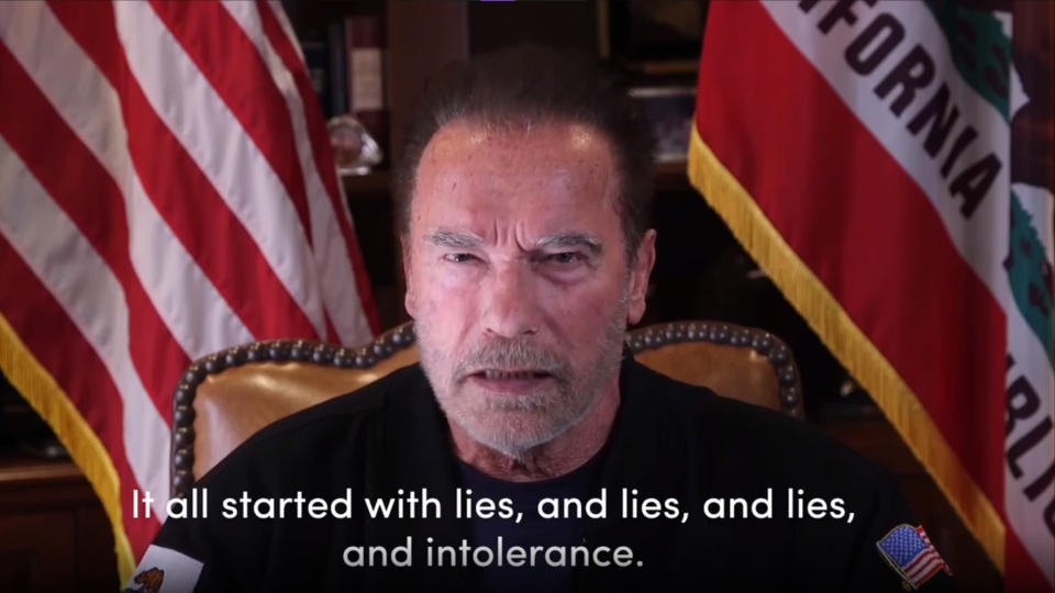 "This Sunday, Jan. 10, 2021, image from a video released by Schwarzenegger shows former Republican California Gov. Arnold Schwarzenegger delivering a public message at his home in Los Angeles. Schwarzenegger compared the mob that stormed the U.S. Capitol to the Nazis and called President Donald Trump a failed leader who ""will go down in history as the worst president ever."" (Frank Fastner/Arnold Schwarzenegger via AP)"