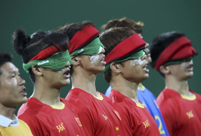 2016 Rio Paralympics - Football Soccer - Men's 5-a-side Preliminaries Pool B - China v Mexico - Olympic Tennis Centre - Rio de Janeiro, Brazil - 11/09/2016. Players of the team China before the match. REUTERS/Ueslei Marcelino FOR EDITORIAL USE ONLY, NOT FOR SALE FOR MARKETING OR ADVERTISING CAMPAIGNS.