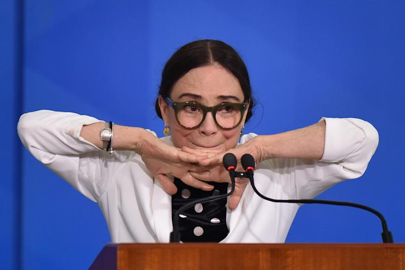 Famous Brazilian novel actress, Regina Duarte, reacts during her inauguration ceremony as new Brazil`s Culture Secretary, at the Planalto Palace in Brasília, Brazil on March 4, 2020. Duarte takes over from Roberto Alvim, who was fired in January after publishing a video with references to Nazi cultural propaganda. (Photo by Andre Borges/NurPhoto via Getty Images)