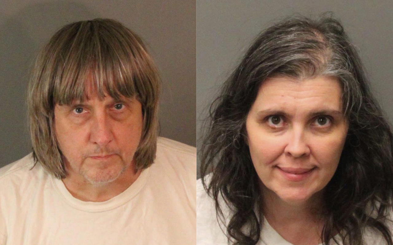 FILE - These undated photos provided by the Riverside County Sheriff's Department show David Allen Turpin, left, and Louise Anna Turpin. More than $120,000 has been donated to help 13 siblings in California who authorities say were kept chained to beds for months by their parents, the Turpins, and starved so much that their growth was stunted. (Riverside County Sheriff's Department via AP, file)