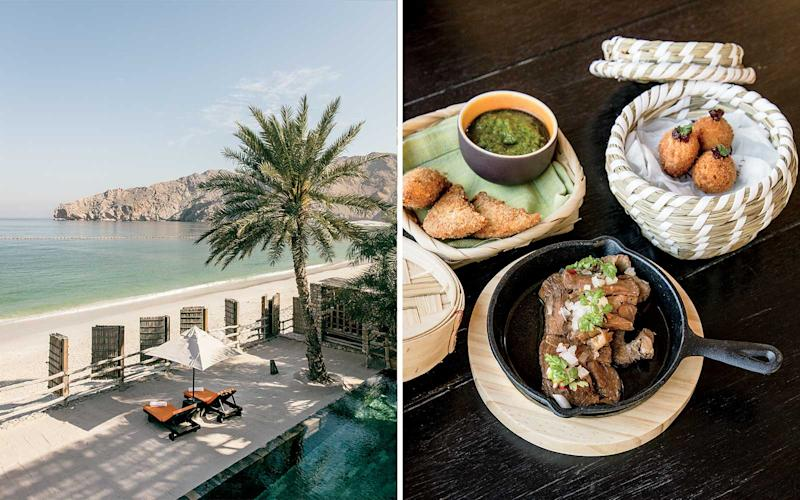 From left: The beach at Six Senses Zighy Bay, a resort on the Musandam Peninsula overlooking the Gulf of Oman; dishes at the resort prepared with indigenous ingredients, some of which are grown on the premises. | Stefan Ruiz