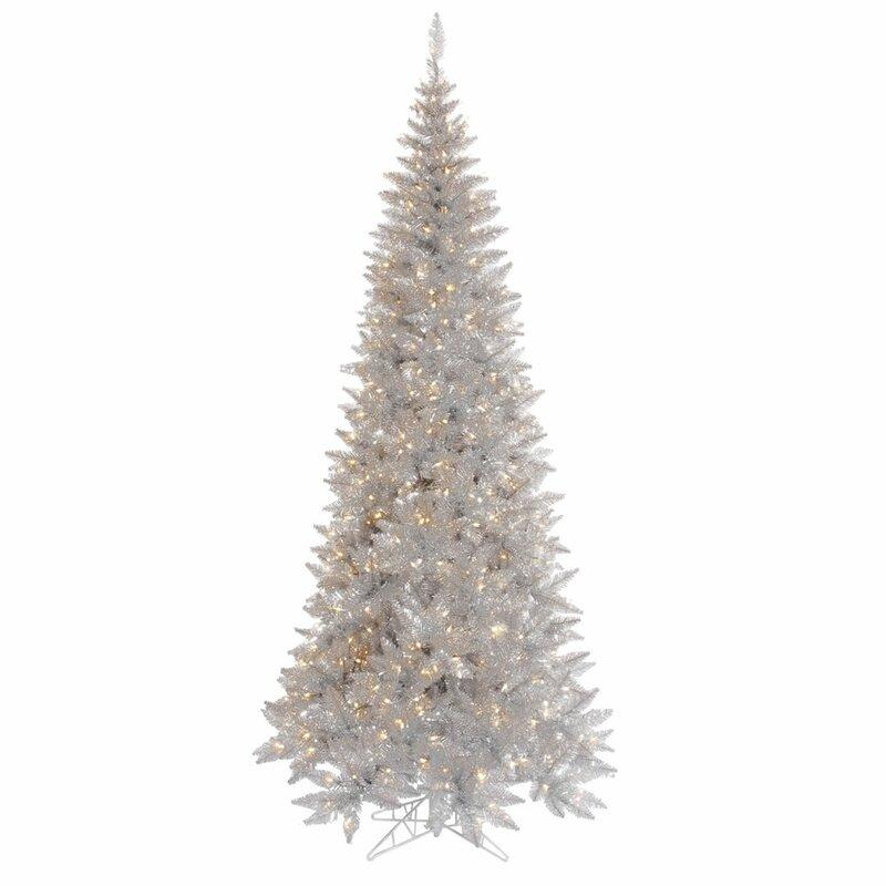 Silver Tinsel Fir Artificial Christmas Tree with LED Clear/White Lights with Stand. Image via Wayfair.