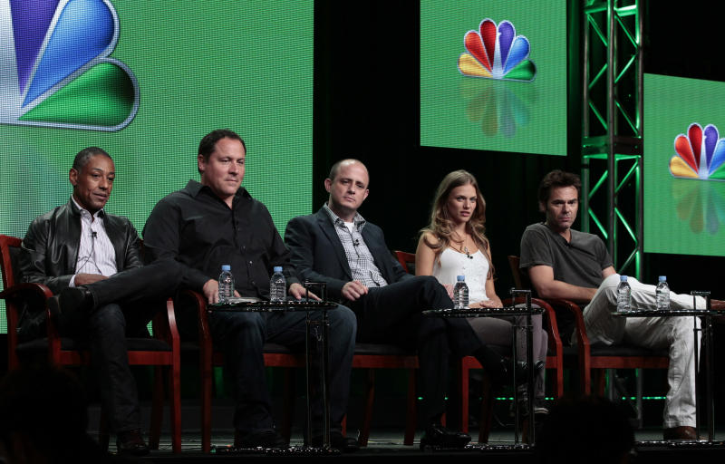 "This Tuesday, July 24, 2012 photo shows from left, Giancarlo Esposito, Jon Favreau, Co-Executive Producer, Eric Kripke, Executive Producer, Tracy Spiridakos and Billy Burke from the upcoming NBC series ""Revolution,"" during the NBCUniversal Press Tour in Beverly Hills, Calif. The series premieres Sept. 17, at 10 p.m. EST on NBC.(AP Photo/NBC, Chris Haston)"
