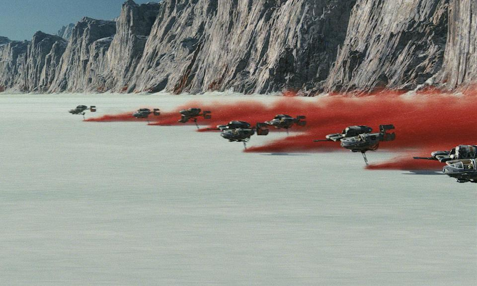 Crait plays host to a desperate battle between the Resistance and The First Order in <i>The Last Jedi</i> (Disney)