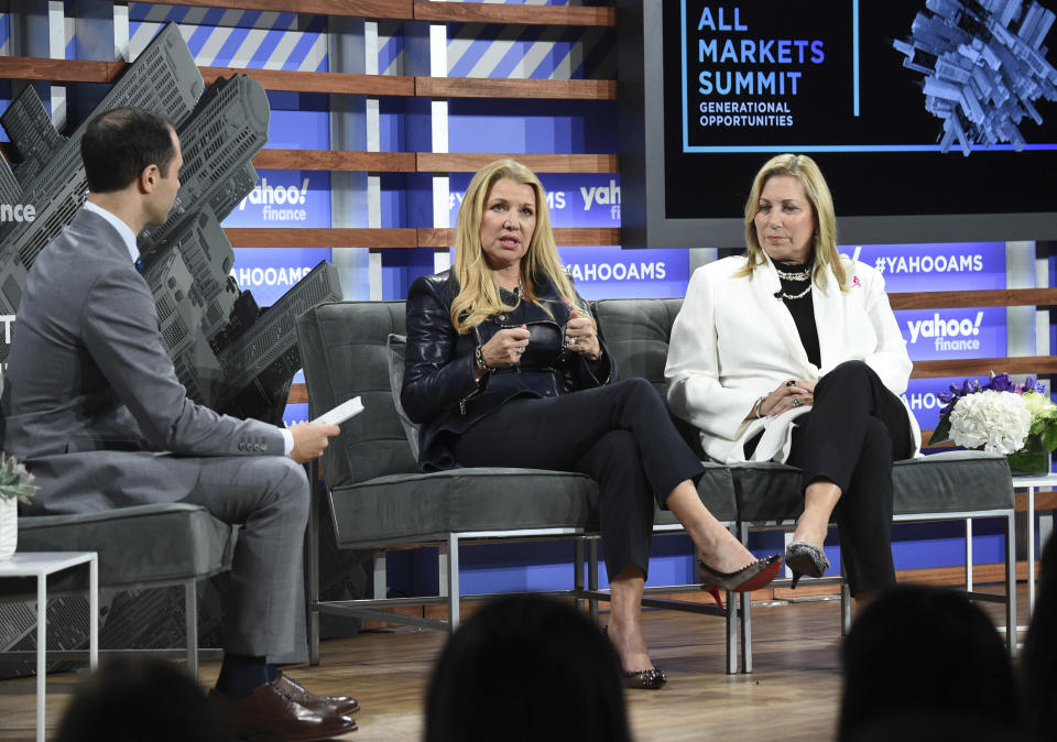 WW International CEO Mindy Grossman, left, and Susan G. Komen CEO Paula Schneider participate in the Yahoo Finance All Markets Summit at Union West on Thursday, Oct. 10, 2019, in New York. (Photo by Evan Agostini/Invision/AP)