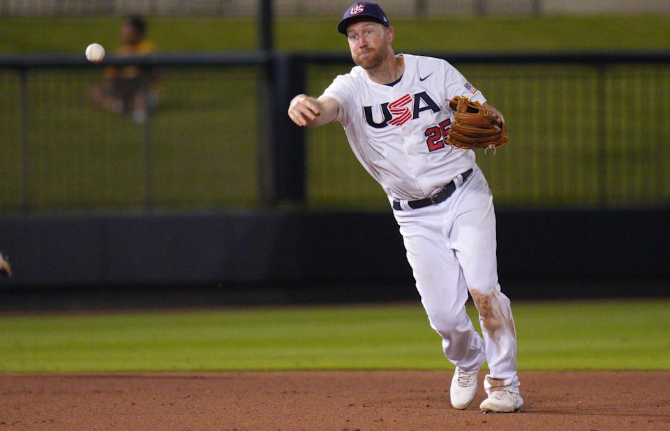 WEST PALM BEACH, FLORIDA - JUNE 04: Todd Frazier #25 of United States in action against Canada during the WBSC Baseball Americas Qualifier Super Round at The Ballpark of the Palm Beaches on June 04, 2021 in West Palm Beach, Florida. (Photo by Mark Brown/Getty Images)